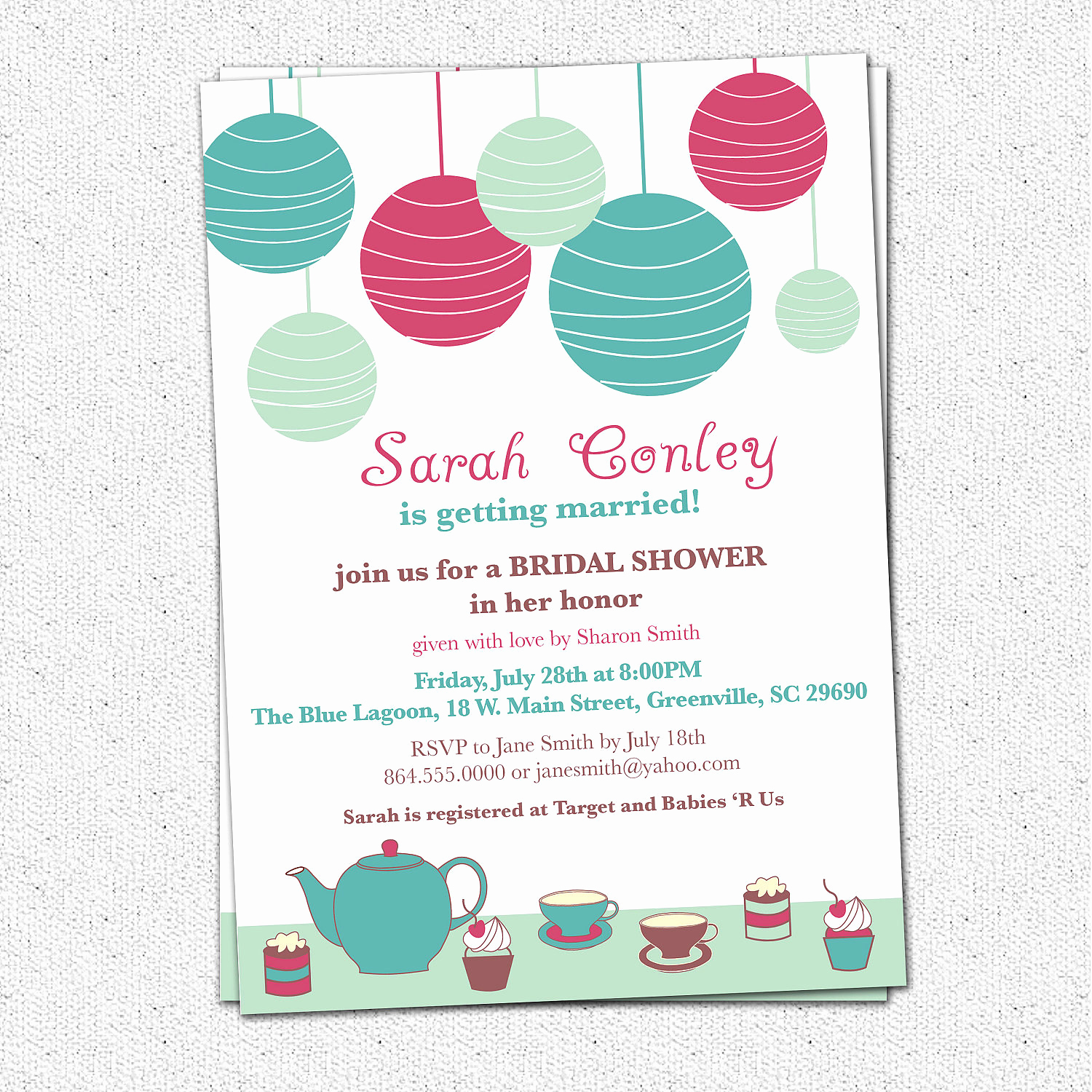 Wedding Shower Invitation Templates Beautiful Bridal Shower Invitation Printable Tea Brunch Lanterns