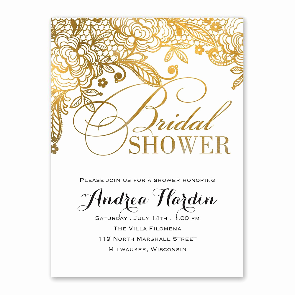 Wedding Shower Invitation Templates Unique Gold Lace Bridal Shower Invitation