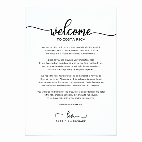 Wedding Weekend Invitation Wording Elegant Wedding Weekend Wel E and Itinerary Letter Chic