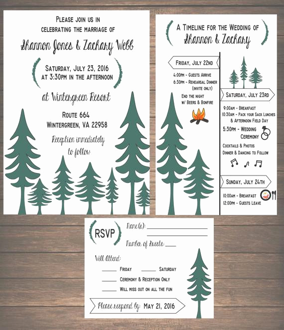 Wedding Weekend Invitation Wording Fresh Printable Woodsy Wedding Weekend Invitation Kit Invitation