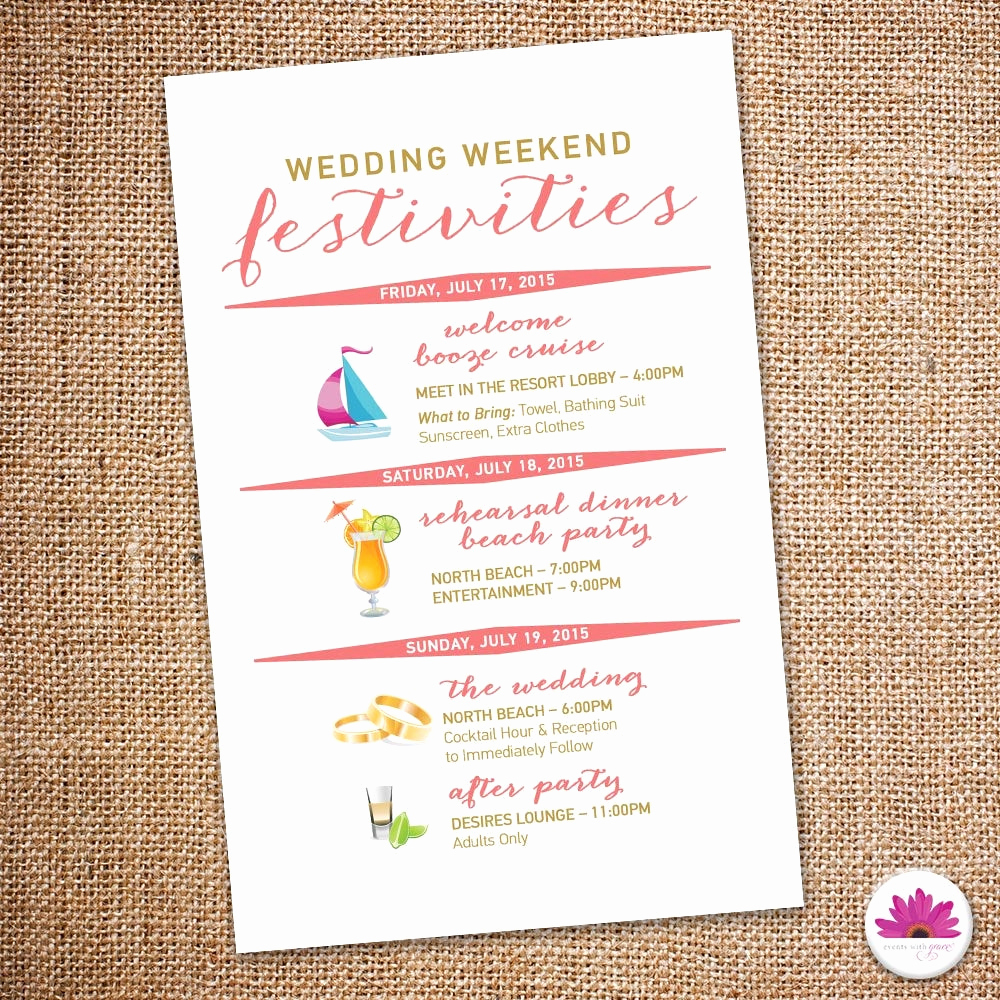 Wedding Weekend Invitation Wording Luxury Destination Wedding Weekend Itinerary Beach Wedding Day Time