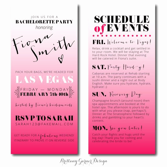 Wedding Weekend Invitation Wording New Fun Ombre Pink Weekend Bachelorette Party Invitations with