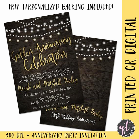 Wedding Welcome Party Invitation Beautiful Golden Anniversary Invitation 50th Anniversary Invitation