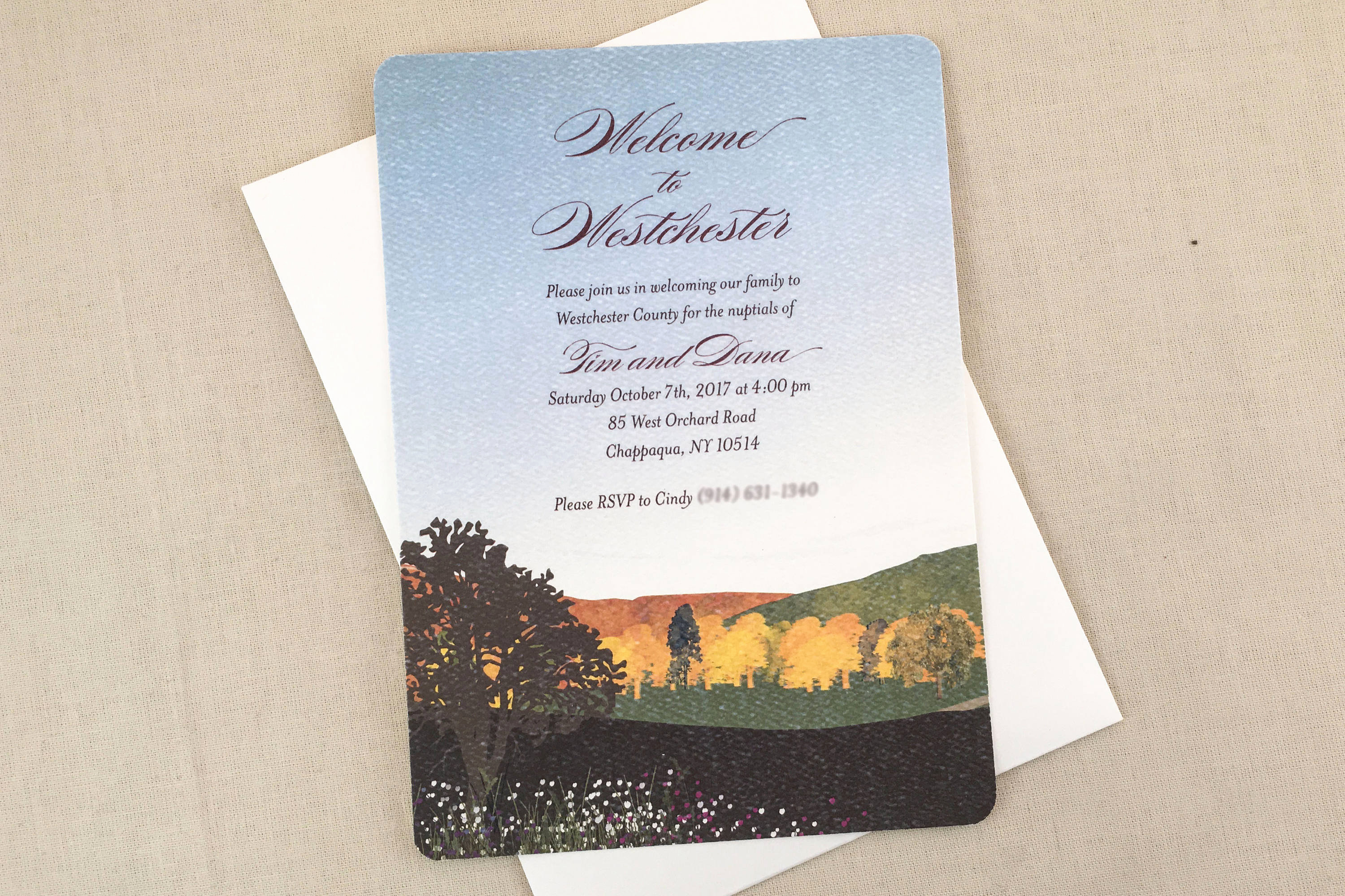 Wedding Welcome Party Invitation Beautiful Wel E Party Fall Mountain Landscape 5×7 Wedding