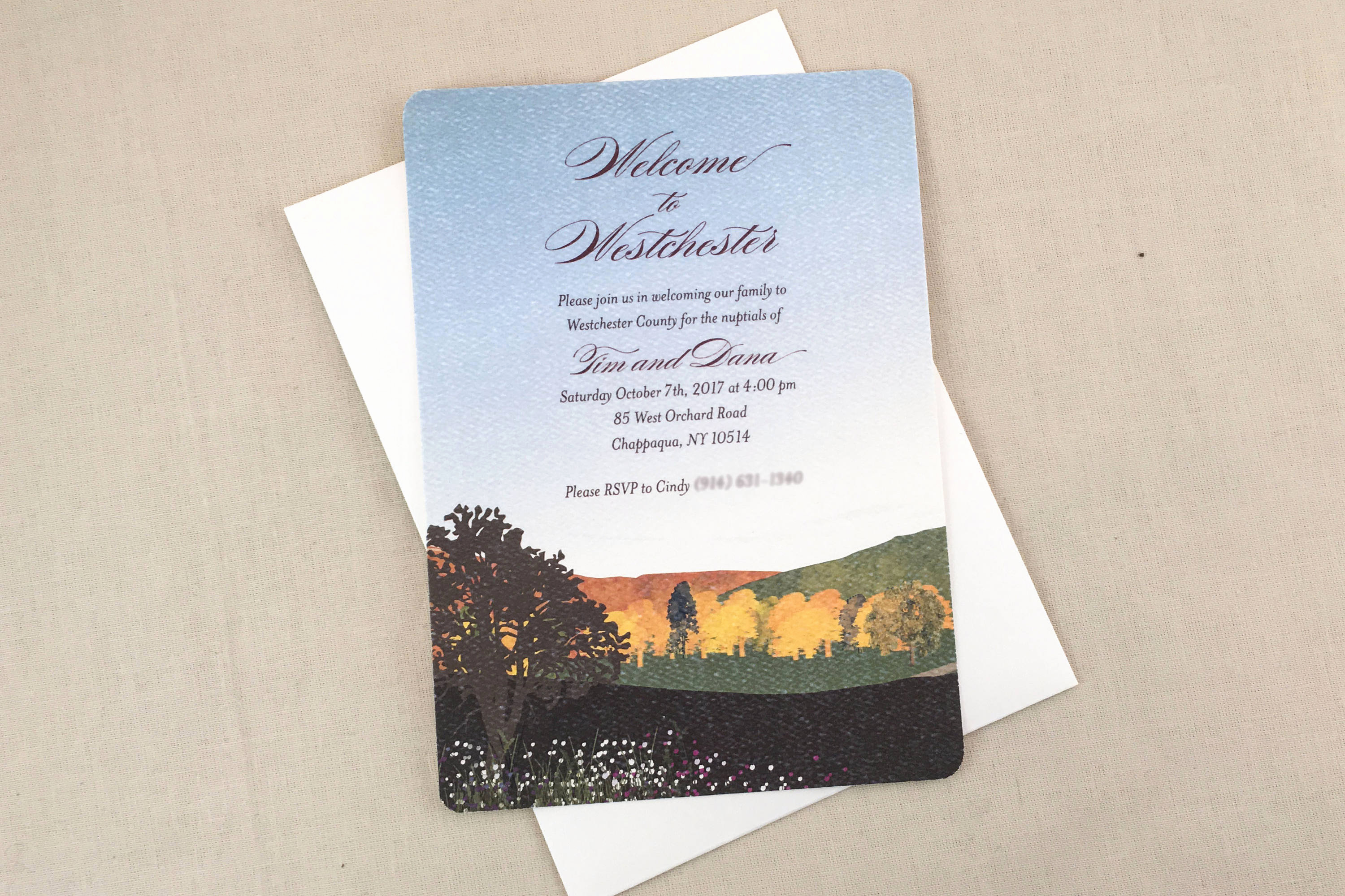 Wedding Welcome Party Invitation Elegant Wel E Party Fall Mountain Landscape 5×7 Wedding