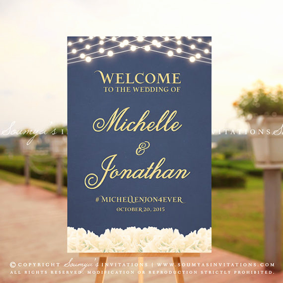 Wedding Welcome Party Invitation Fresh Wel E Wedding Sign Gold and Navy Wedding Wel E Sign