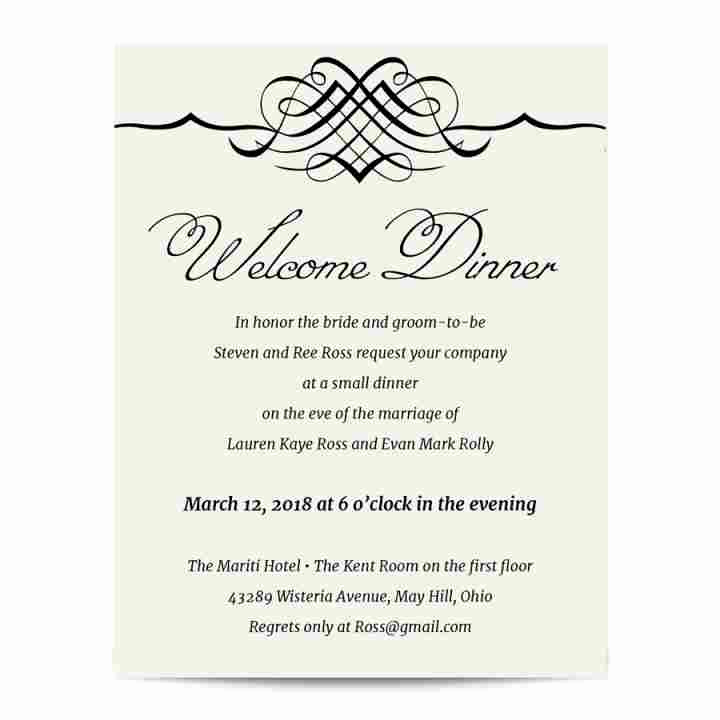 Wedding Welcome Party Invitation Luxury Simple Elegance Wel E Dinner Invitation