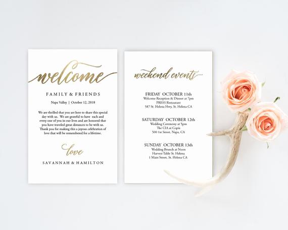 Wedding Welcome Party Invitation Luxury Wedding Wel E Bag Note Gold Wedding Calligraphy Wel E