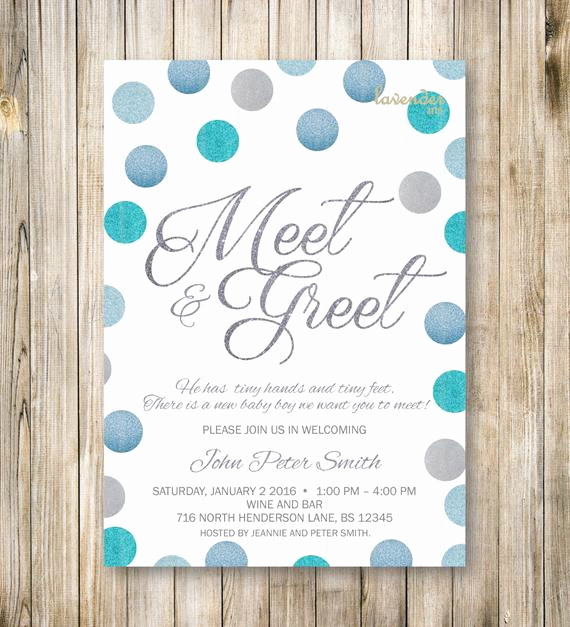 Wedding Welcome Party Invitation Wording Elegant Meet and Greet Invitation Silver Blue Glitters Meet the Baby