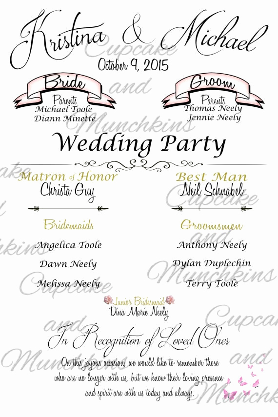 Wedding Welcome Party Invitation Wording Fresh Wedding Program Board Wel E Sign In Memory Bridal