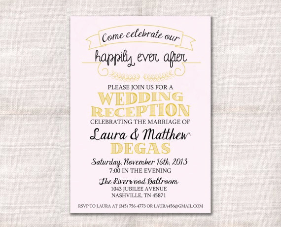 Wedding Welcome Party Invitation Wording Lovely Wedding Reception Celebration after Party Invitation Custom