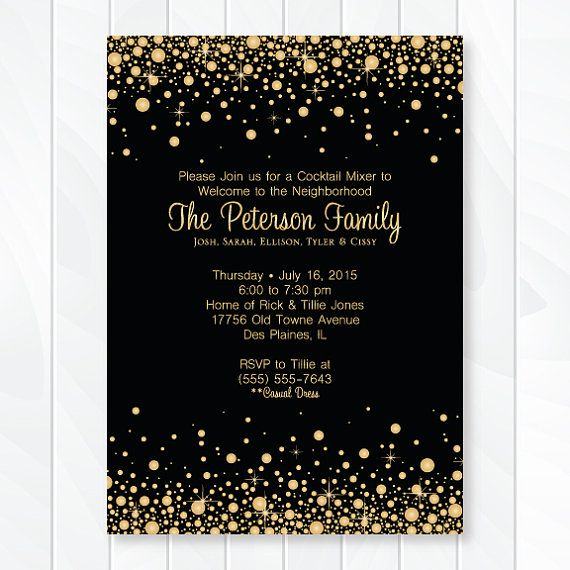 Wedding Welcome Party Invitation Wording Unique Gold and Black Confetti Cocktail Party social Gathering