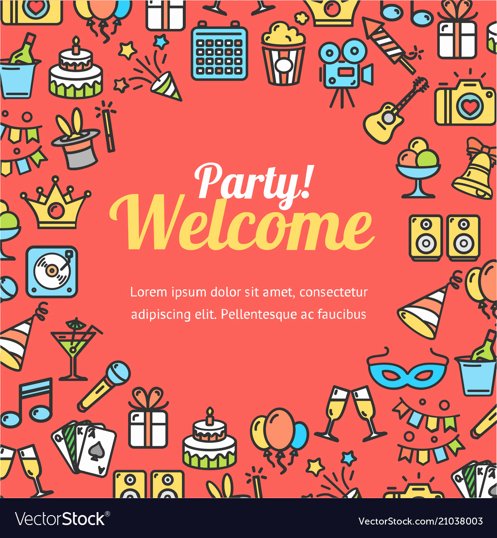Welcome Party Invitation Wording Awesome Wel E Party Invitation Card Royalty Free Vector Image