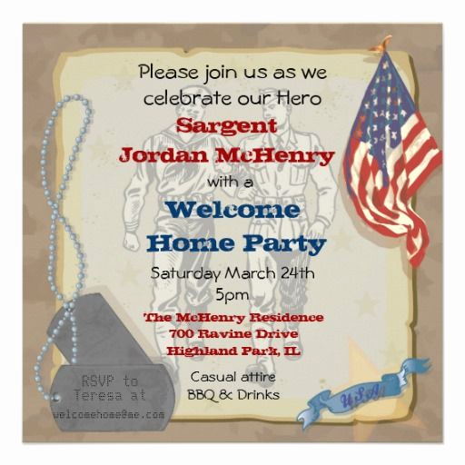 Welcome Party Invitation Wording Luxury Wel E Home Hero Military Party Invitation