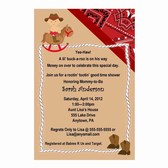 Western Baby Shower Invitation Awesome Western Cowboy Baby Shower Invitation Red or Blue You