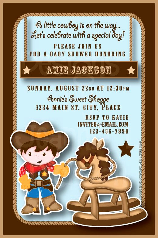 Western Baby Shower Invitation Beautiful Cowboy Western Personalized Invitation Birthday Baby
