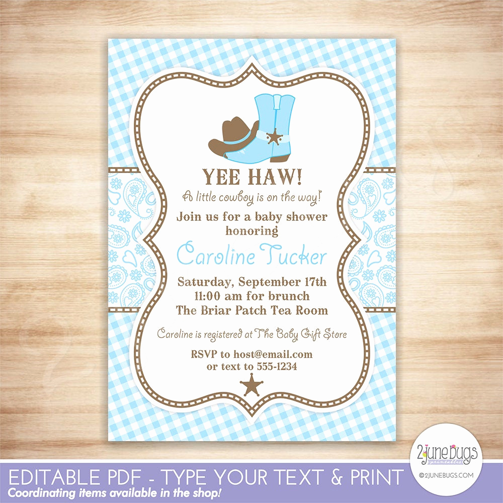 Western Baby Shower Invitation Best Of Cowboy Baby Shower Invitation Country Western Baby Boy