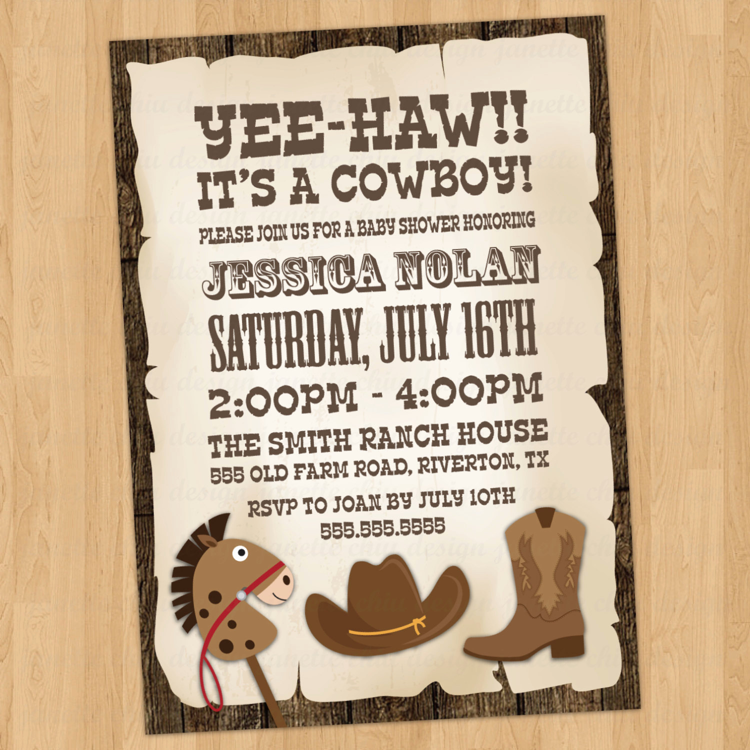 Western Baby Shower Invitation Elegant Cowboy Baby Shower Invitation Digital Printable or Printed