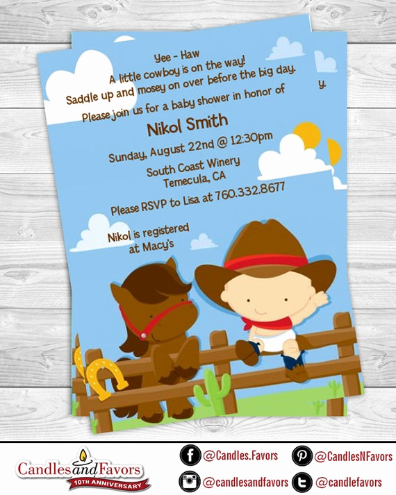 Western Baby Shower Invitation Fresh Little Western Cowboy Baby Shower Invitation