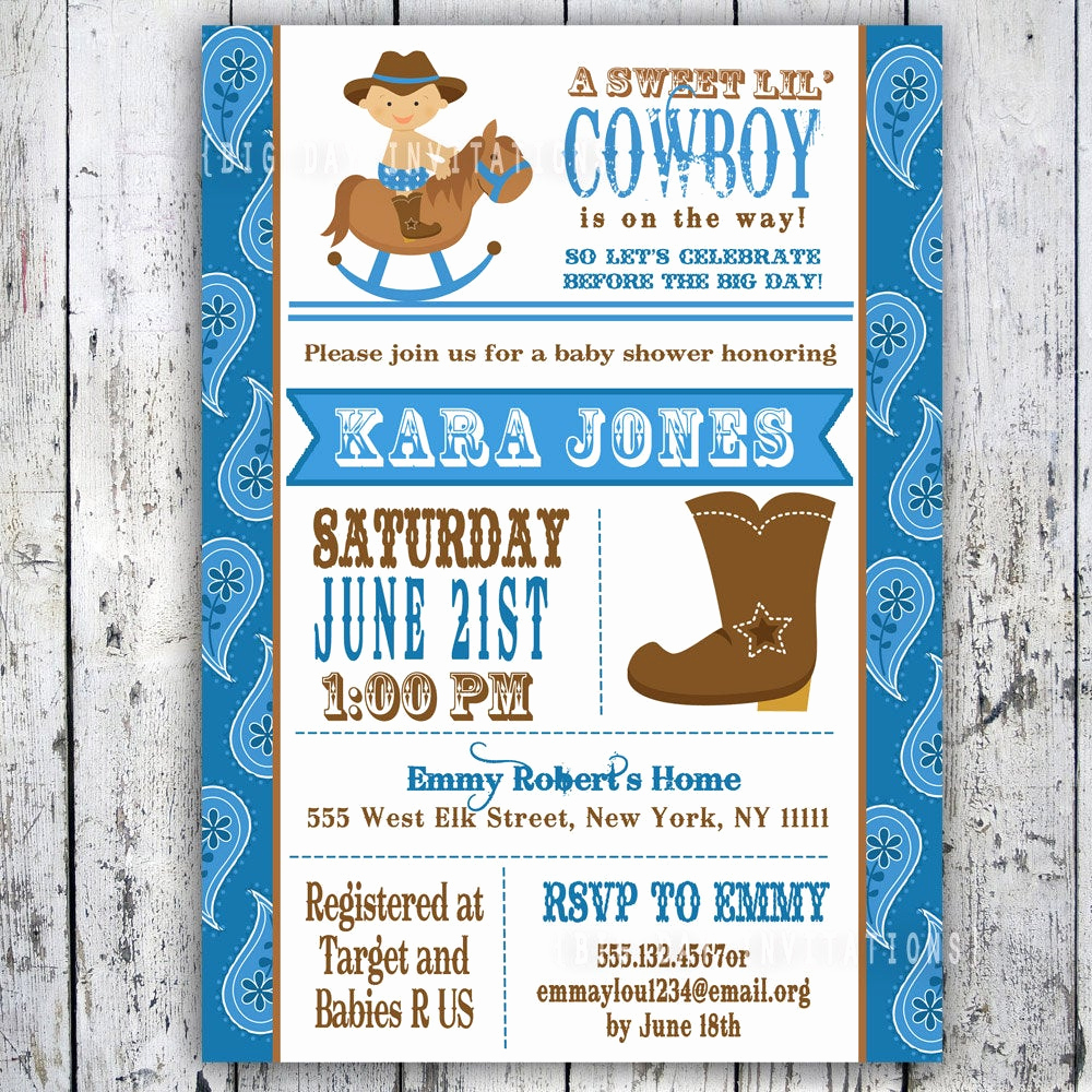 Western Baby Shower Invitation Inspirational Lil Cowboy Baby Shower Invitation Custom Printable