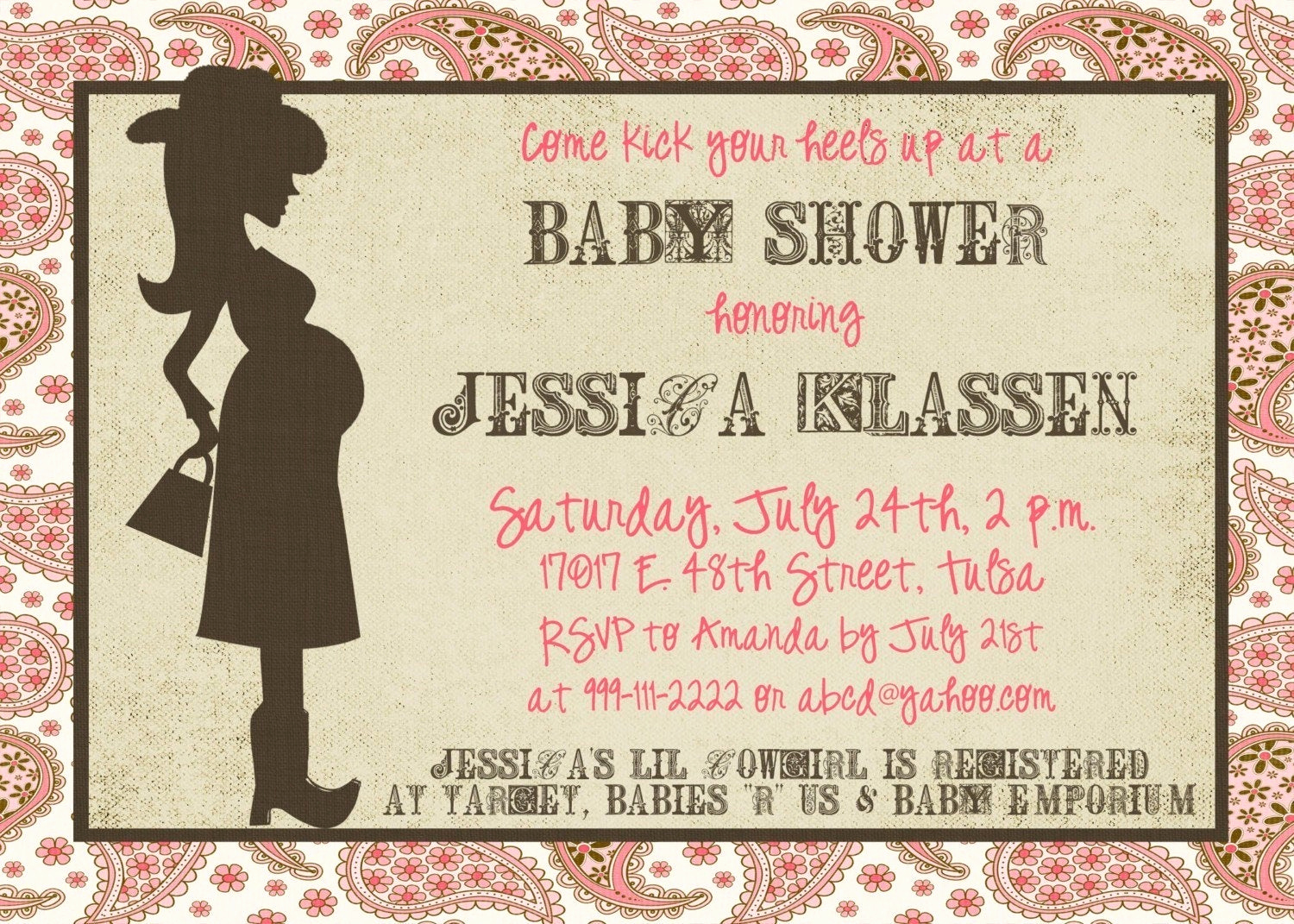 Western Baby Shower Invitation Inspirational Western Mama 5x7 Baby Shower Invitation