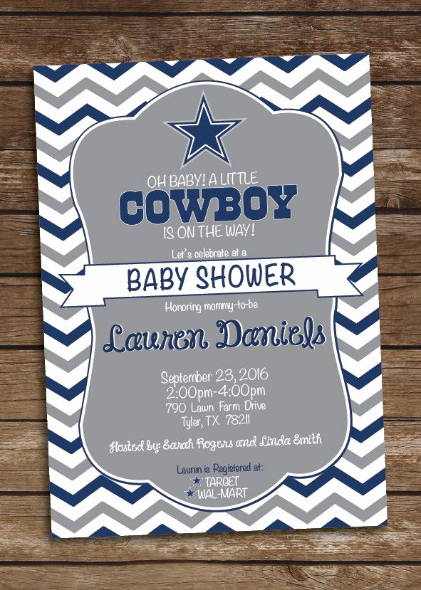 Western Baby Shower Invitation Lovely Cowboys Inspired Football Baby Shower Invitation