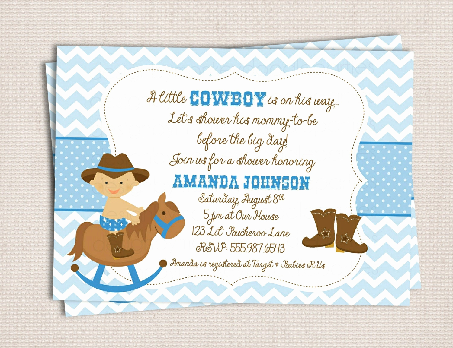 Western Baby Shower Invitation Lovely Little Buckaroo Cowboy Baby Shower Custom by