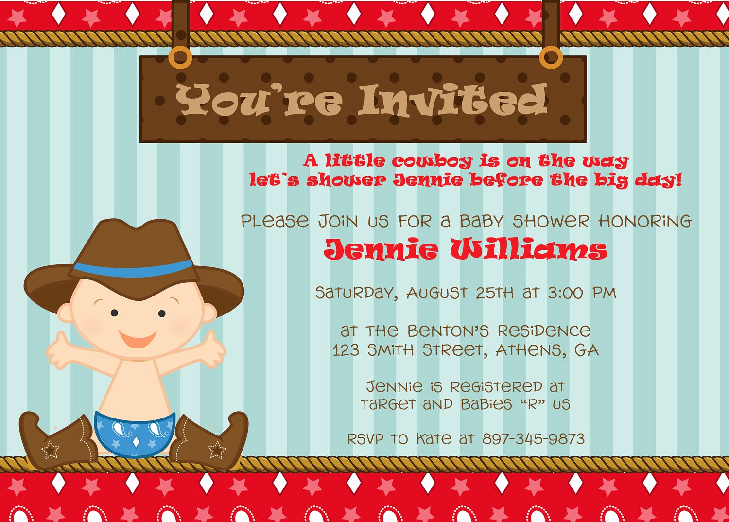Western Baby Shower Invitation New Cute Cowboy Baby Shower Invitation or Birthday Invitation