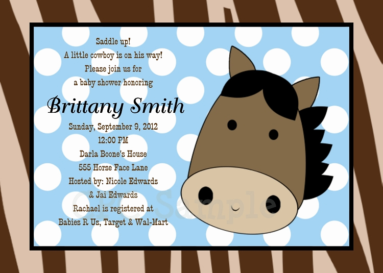 Western Baby Shower Invitation Template Awesome Cowboy Baby Shower Invitations