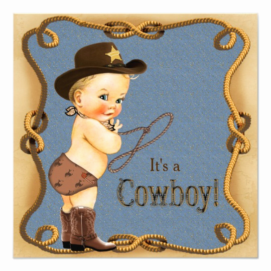 Western Baby Shower Invitation Template Awesome Cute Little Cowboy Baby Shower Card