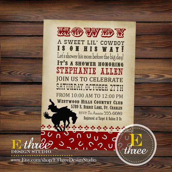 Western Baby Shower Invitation Template Awesome Printable Baby Shower Invitation Cowboy by Ethreedesignstudio