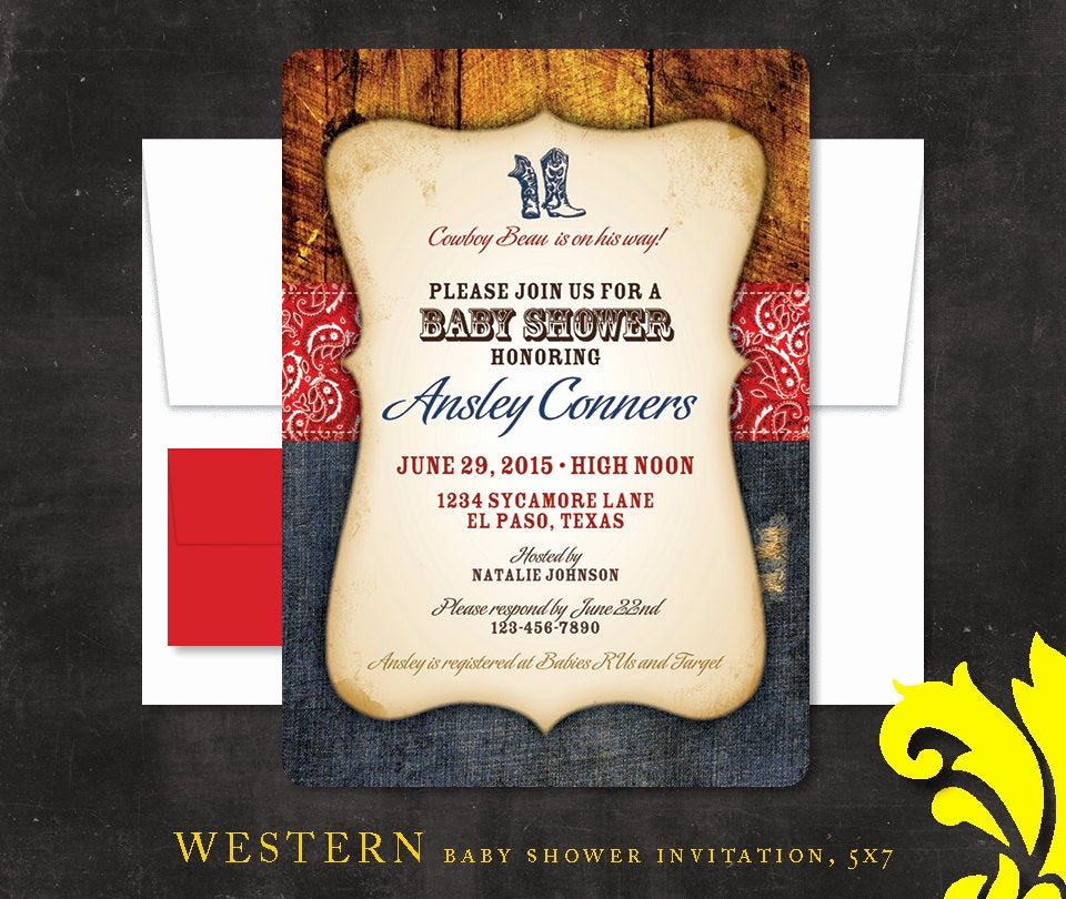 western baby shower invitation