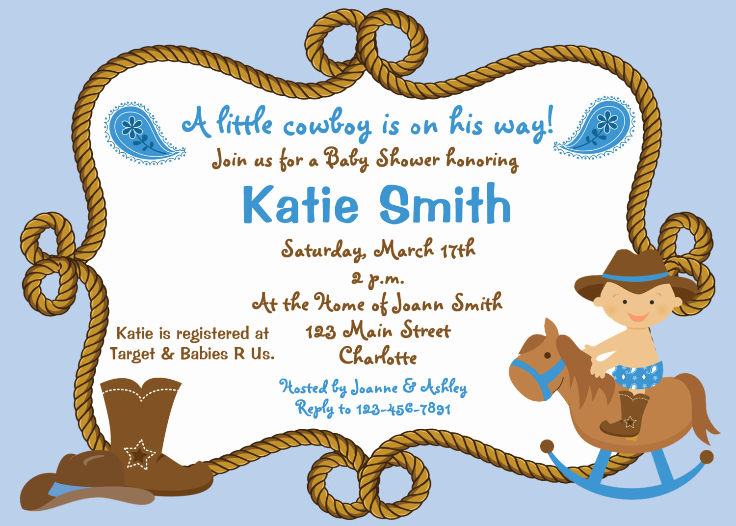 Western Baby Shower Invitation Template Beautiful Baby Shower Invitation Baby Cowboy Boy by thebutterflypress