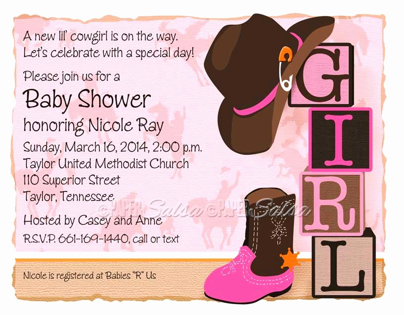 Western Baby Shower Invitation Template Fresh Western Cowgirl Invitation Naptime Productions