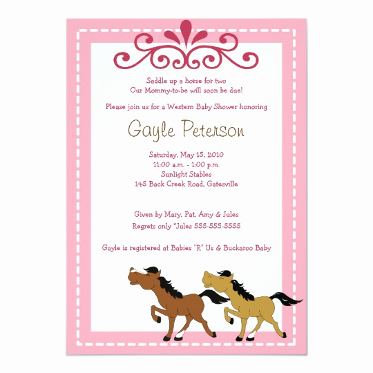 Western Baby Shower Invitation Template Inspirational Horse Western Cowgirl 5x7 Baby Shower Invitation