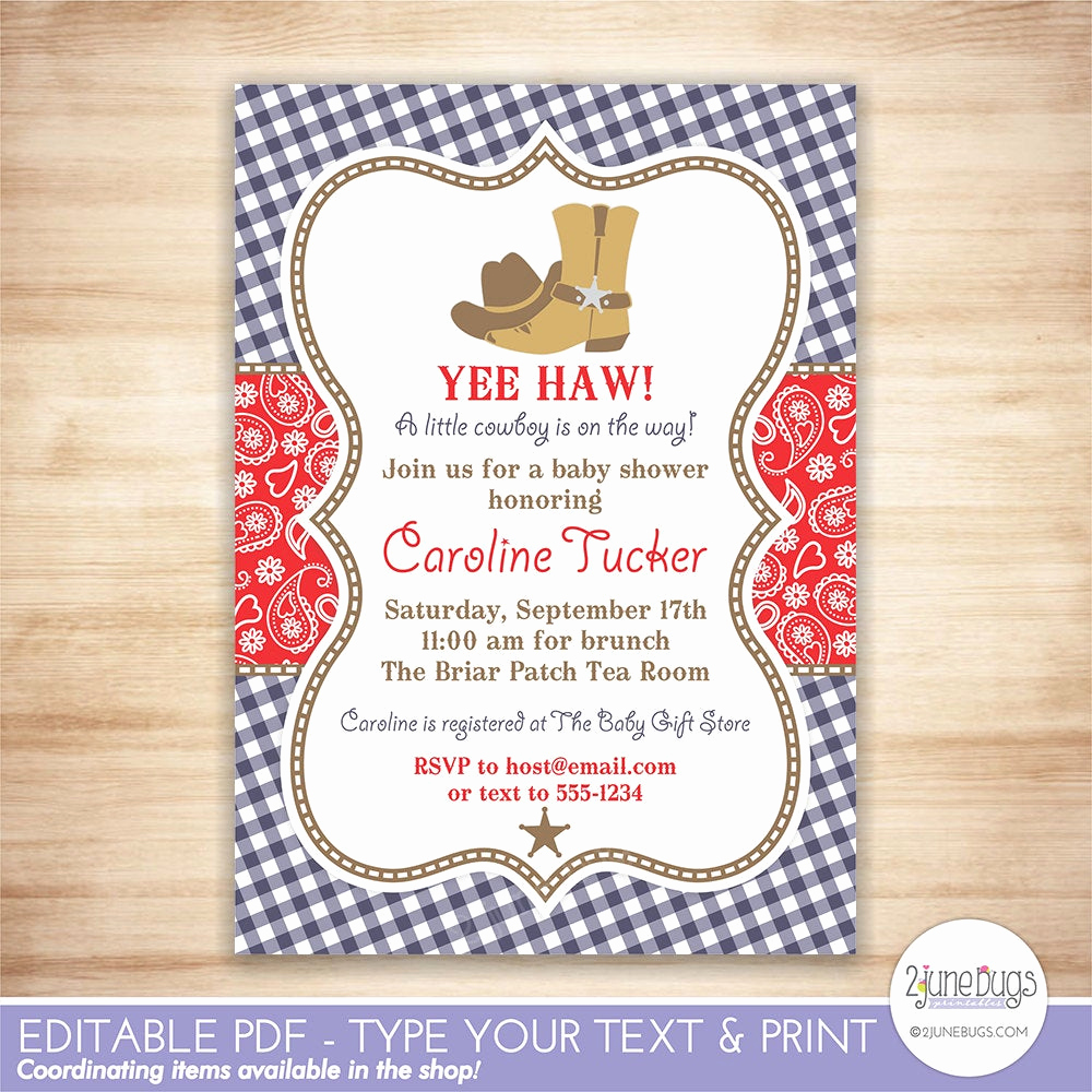 Western Baby Shower Invitation Template Lovely Cowboy Baby Shower Invitation Western Baby Shower