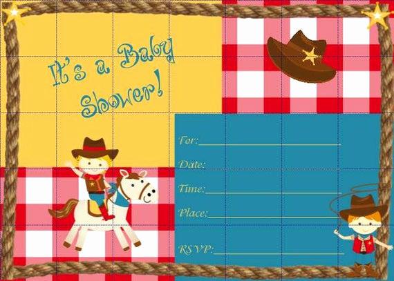 Western Baby Shower Invitation Template Luxury Cowboy Baby Shower Invitations Template