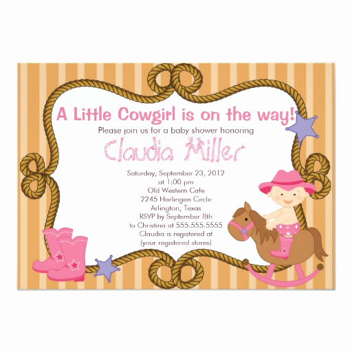 Western Baby Shower Invitation Template Luxury Cute Western Cowgirl Baby Shower Invitation