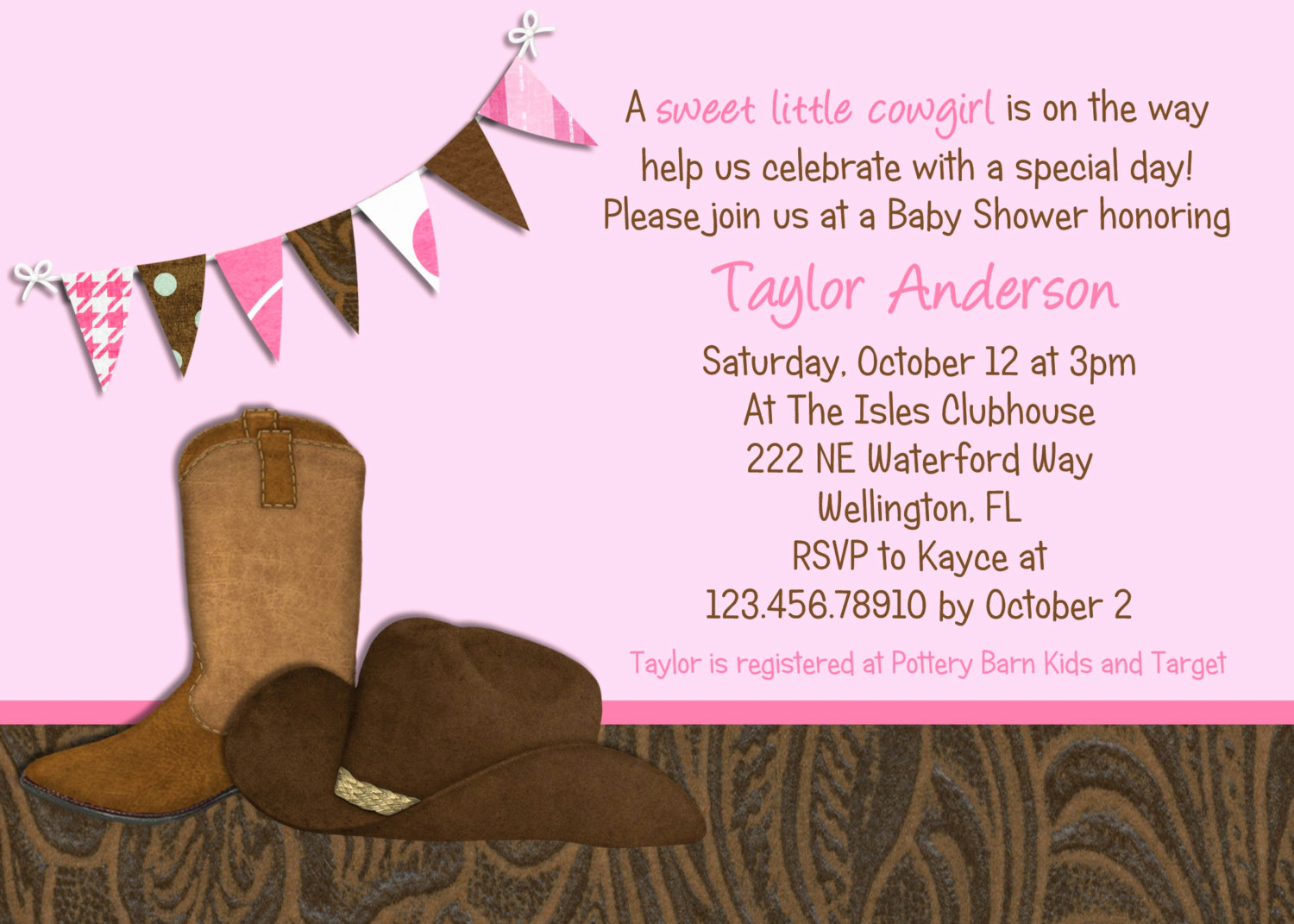 Western Baby Shower Invitation Template New Little Cowgirl Western Baby Shower Invitation