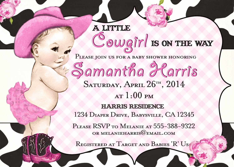 Western Baby Shower Invitation Template Unique Cowgirl Baby Shower Invitation for Girl Vintage Cowgirl