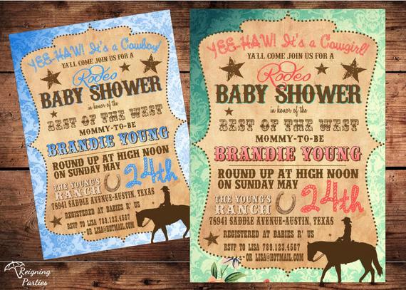 Western Baby Shower Invitation Template Unique Vintage Western Baby Shower Invitation Cowgirl Cowboy