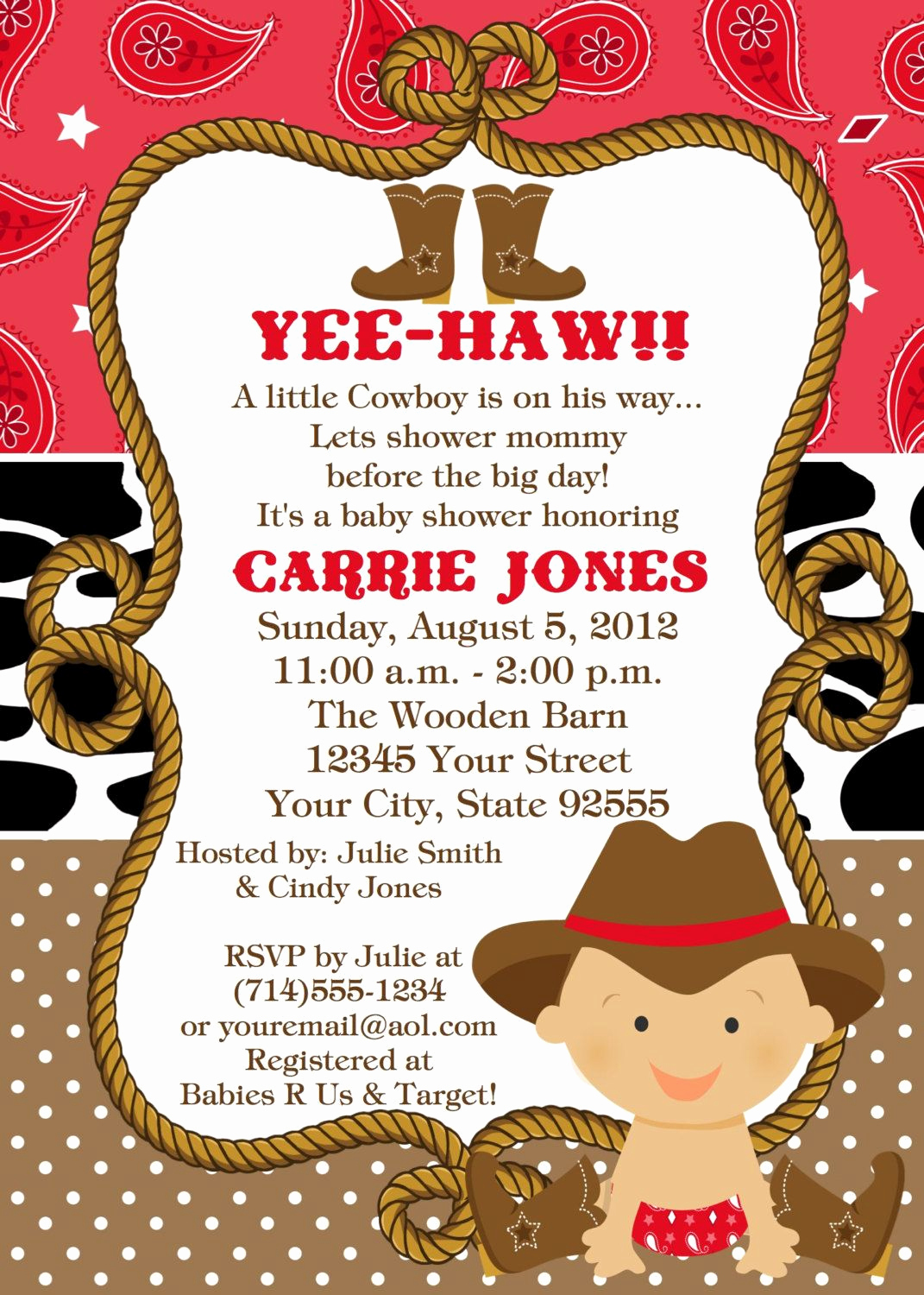 Western Baby Shower Invitation Unique Baby Cowboy Baby Shower Invitation You Print 2 Designs