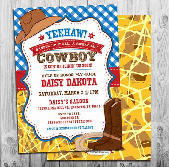 Western Baby Shower Invitation Unique Cowboy Baby Shower Invitation