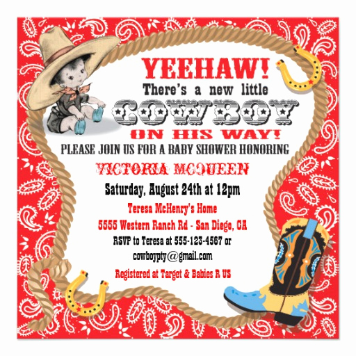 "Western Baby Shower Invitation Unique Cute Little Cowboy Baby Shower Invitation 5 25"" Square"