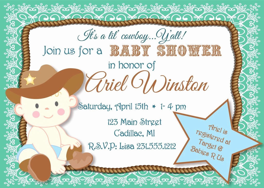 Western Baby Shower Invitation Unique Lil Cowboy Baby Shower Invitation Sbgb90