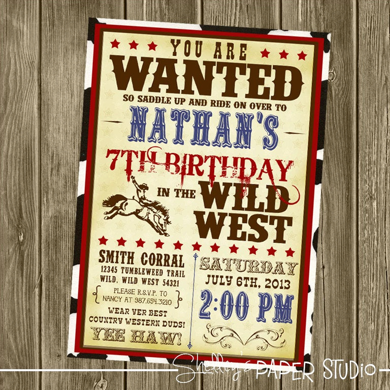 Western Party Invitation Templates Free Awesome Cowboy Birthday Invitation