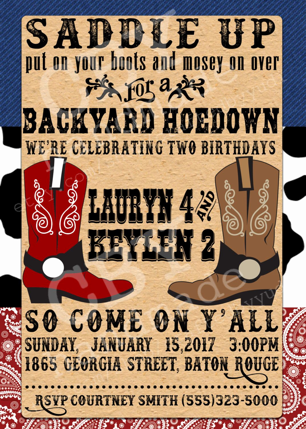 Western Party Invitation Templates Free Beautiful Printable Backyard Hoedown Party Invitations Red
