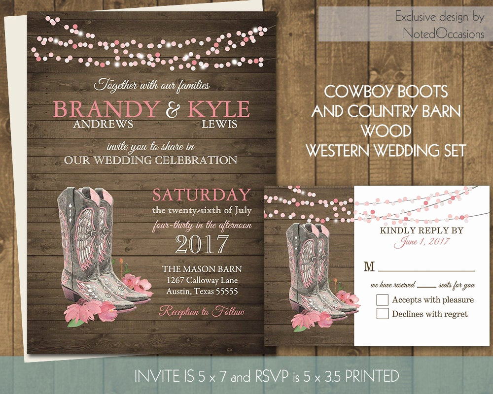 Western Party Invitation Templates Free Elegant Printable Country Western Wedding Invitations Set Cowboy Boots