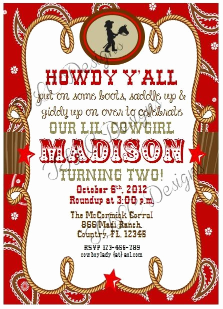Western Party Invitation Templates Free Inspirational Digital Cowgirl Western Country themed Birthday Party