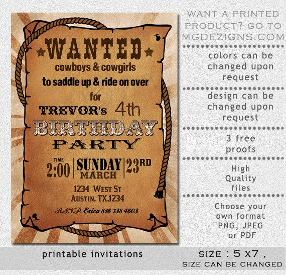 Western Party Invitation Templates Free Inspirational Printable Rustic Western Wanted Poster Birthday Invitation